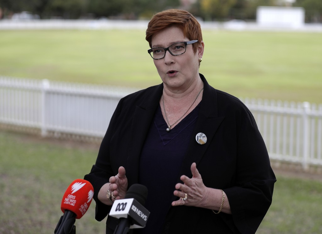 Australian Foreign Minister Marise Payne comments in Penrith Australia Monday
