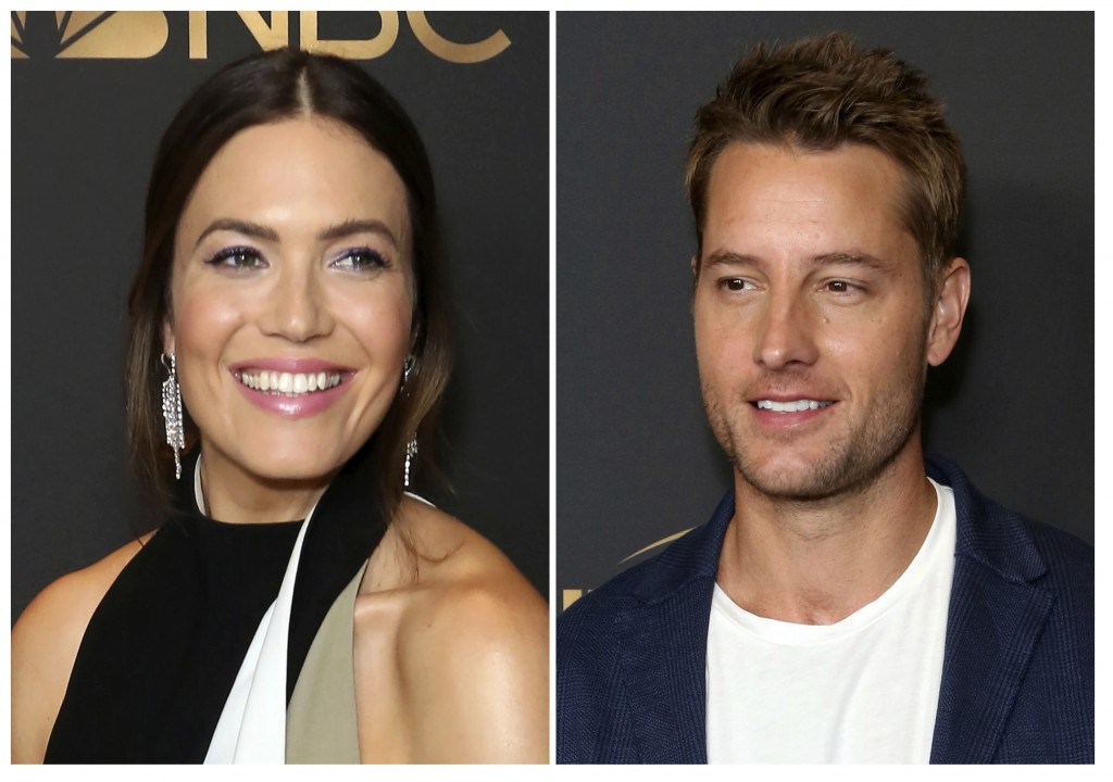 This combination photo shows Mandy Moore, left, and Justin Hartley at the NBC and Universal Television Emmy Nominee Celebration in West Hollywood, Cal...