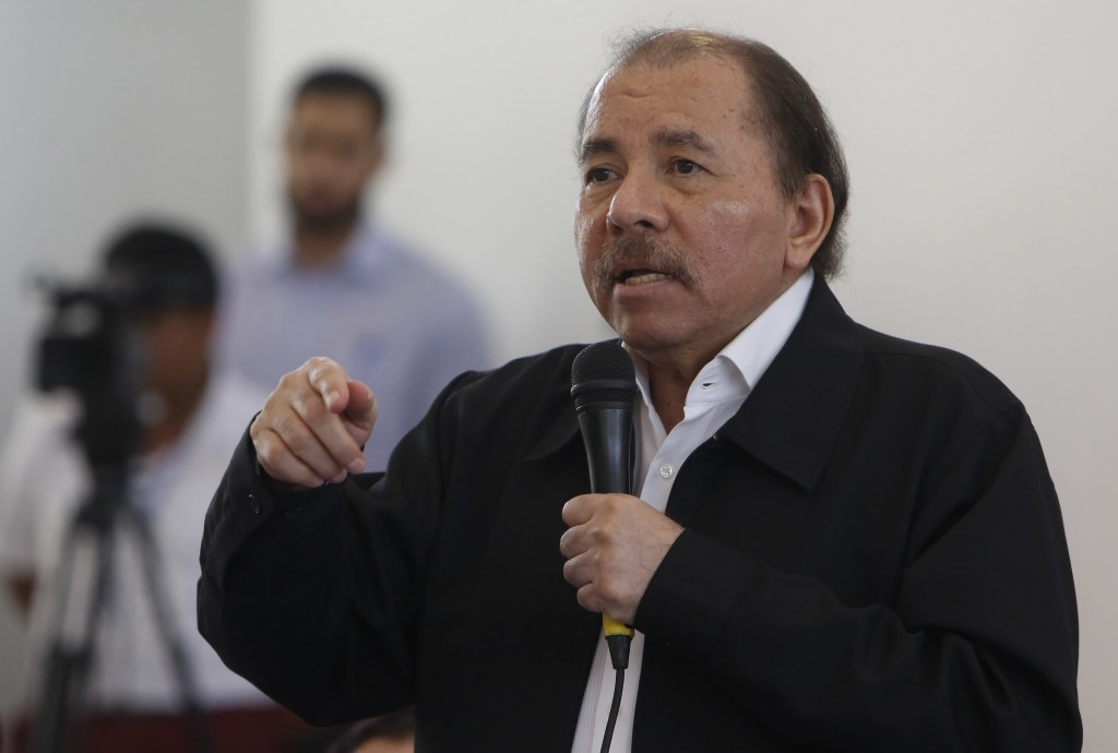 FILE - In this May 16, 2018 file photo, Nicaragua's President Daniel Ortega speaks at the opening of a national dialogue, in Managua, Nicaragua. Orteg...