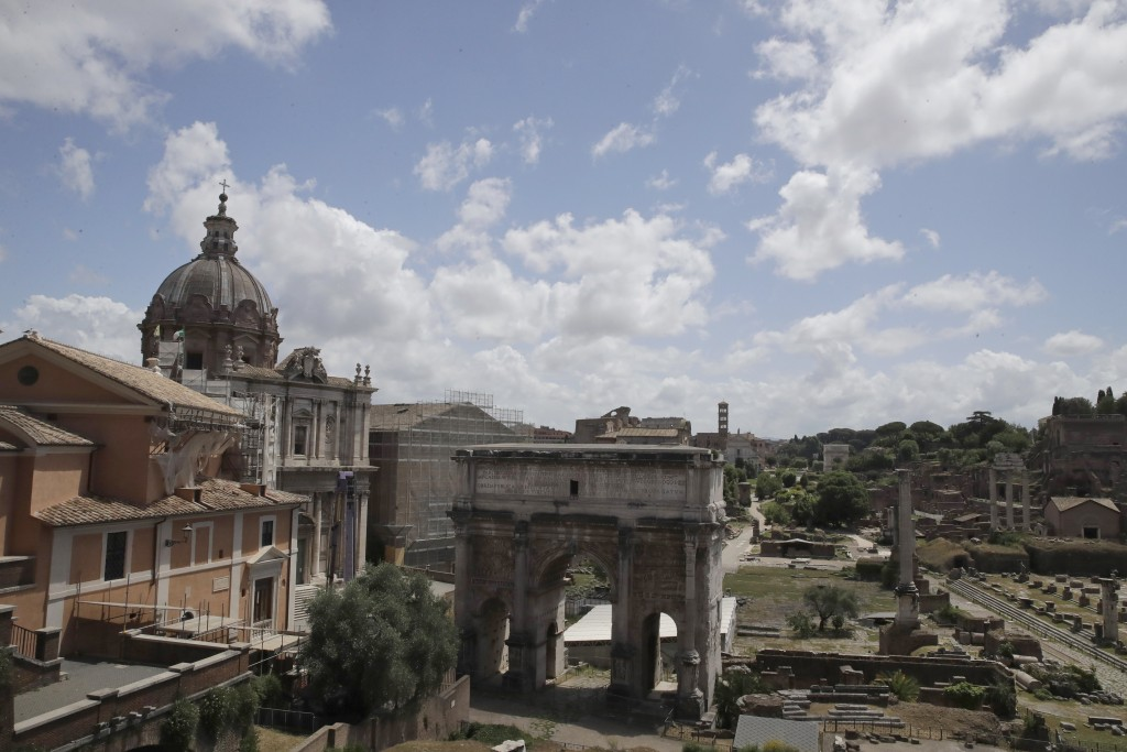 A view of the Roman Forum archaeological area, which is still closed following the measures to curb the spread of COVID-19, in Rome, Tuesday, May 19, ...