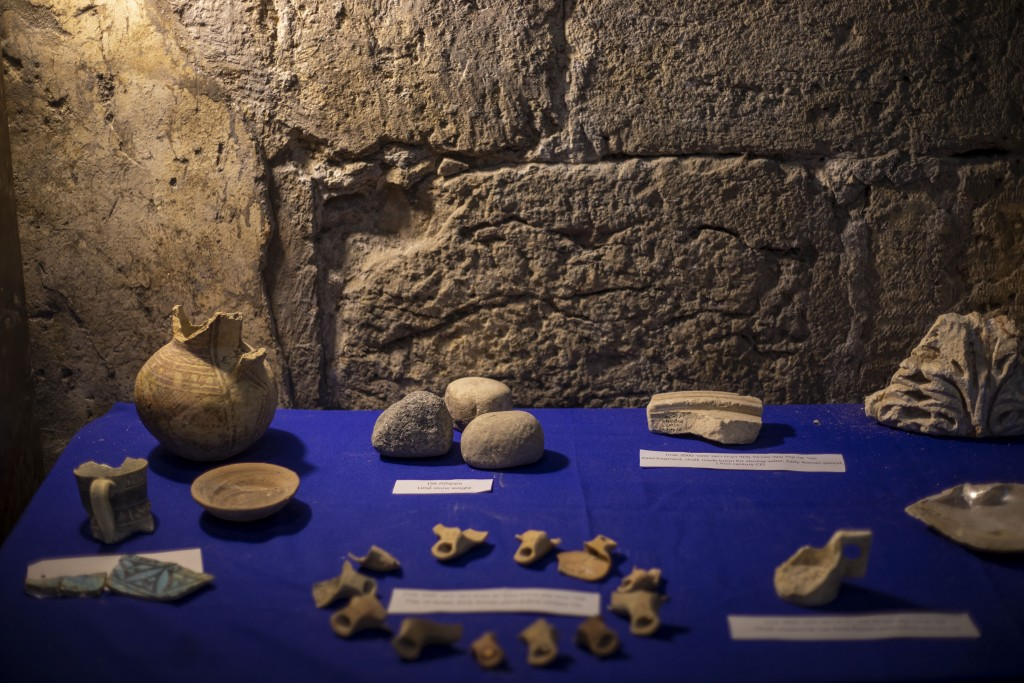 Archaeological finds are on display at Israel Antiquities Authority excavation site, in Jerusalem's Old City, Tuesday, May 19, 2020. Israeli archaeolo...