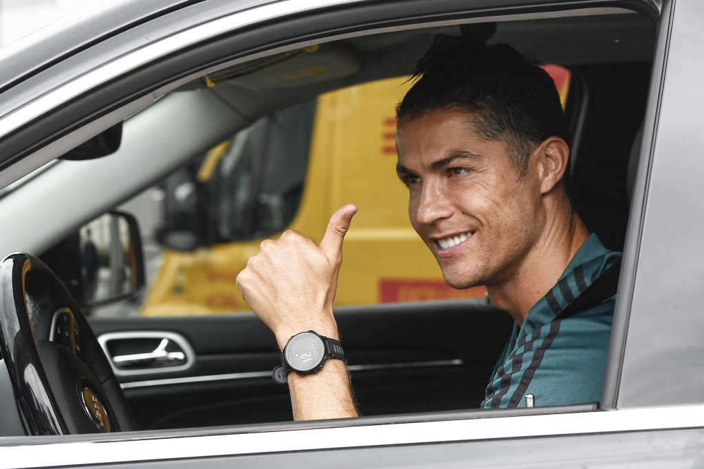 Cristiano Ronaldo leaves the Juventus sport center after his first training, in Turin, Italy, May 19, 2020. Cristiano Ronaldo has reported back to Juv...