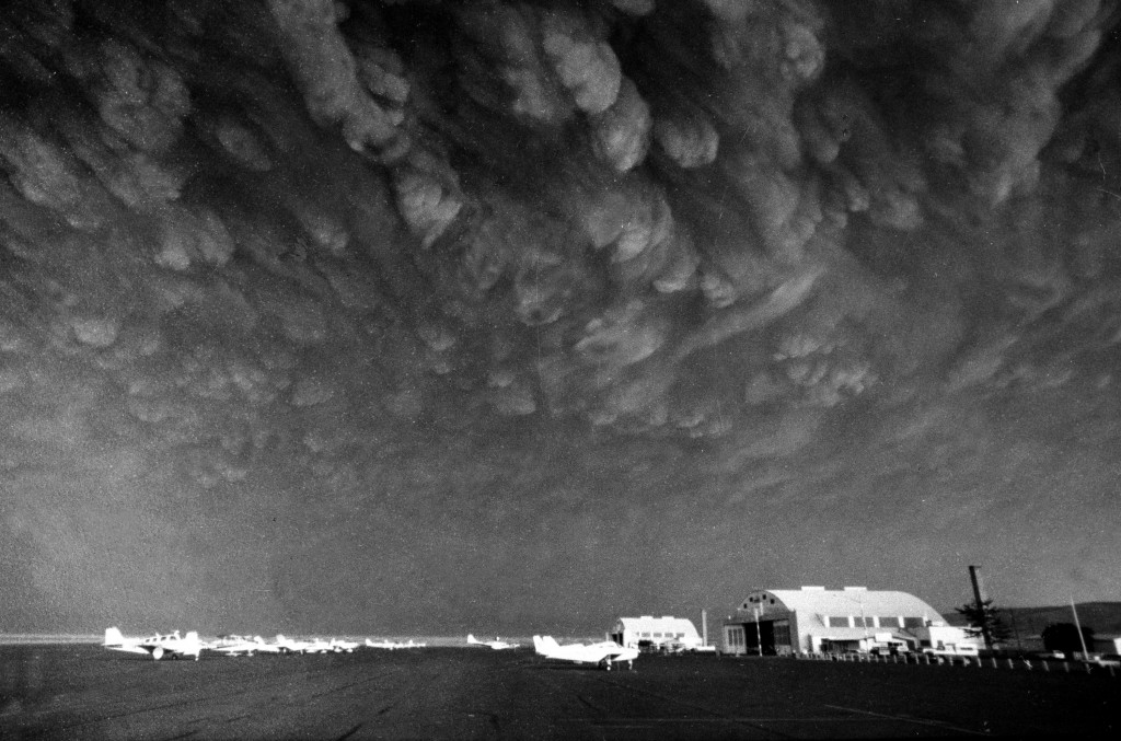 FILE - In this May 19, 1980, file photo, clouds of ash from the eruption of the Mount St. Helens volcano move over the Ephrata Airport in Ephrata, Was...