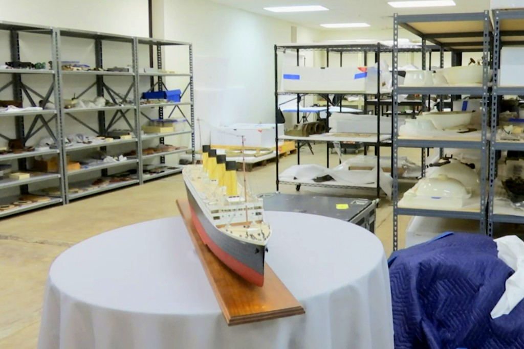 FILE - In this Feb. 18, 2020 file photo, artifacts recovered from the Titanic sit on shelves at a storage facility in Atlanta.  A federal judge in Vir...
