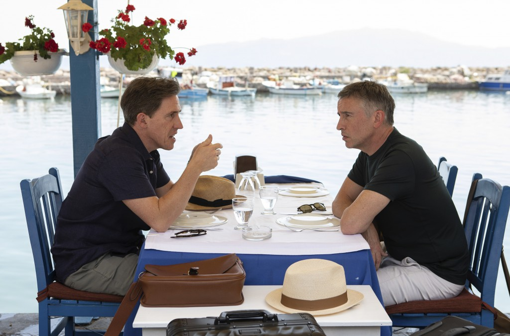 """This image released by IFC Films shows Rob Brydon, left, and Steve Coogan in a scene from """"The Trip to Greece,"""" available Friday for rent on VOD and d..."""