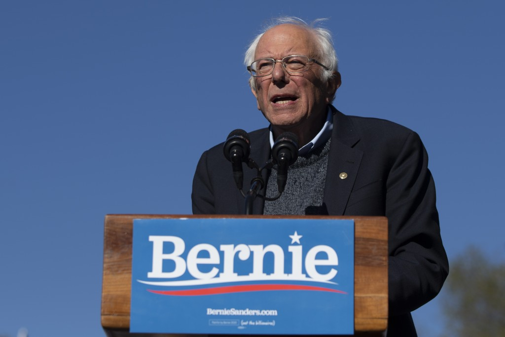 FILE - In this Oct. 19, 2019 file photo, Democratic presidential candidate Sen. Bernie Sanders, I-Vt., speaks to supporters during a rally in New York...