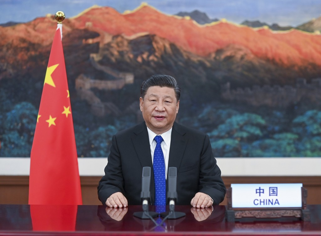 In this photo released by Xinhua News Agency, Chinese President Xi Jinping delivers a speech at the opening of the 73rd World Health Assembly via vide...
