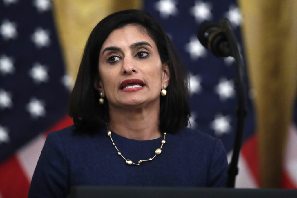 FILE - In this April 30, 2020 file photo Administrator of the Centers for Medicare and Medicaid Services Seema Verma speaks about protecting seniors, ...