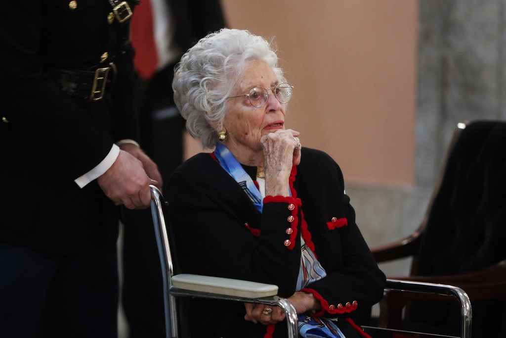 FILE - In this Dec. 16, 2016 file photo, Annie Glenn arrives to view the casket of her husband famed astronaut John Glenn as he lies in honor, in Colu...