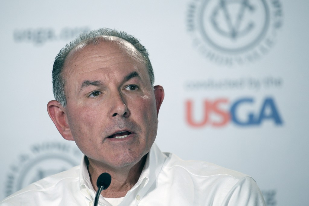 John Bodenhamer the USGA senior managing director of championship answers questions during a press confere