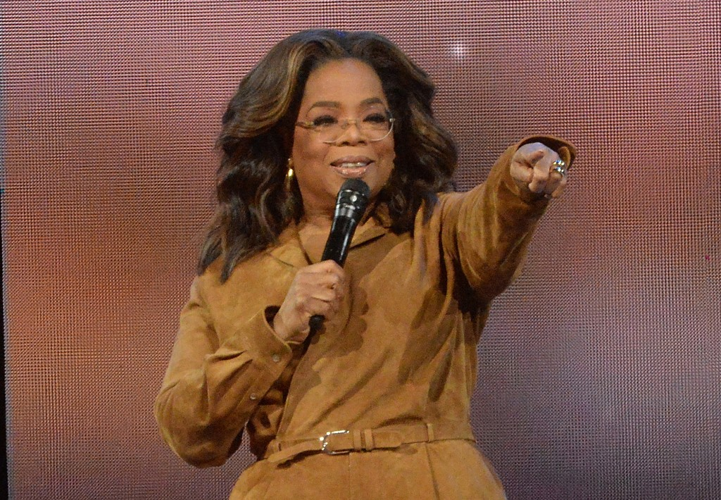 "FILE - This Feb. 8, 2020 file photo shows Oprah Winfrey during ""Oprah's 2020 Vision: Your Life in Focus"" tour in New York. Winfrey announced Wednesday..."