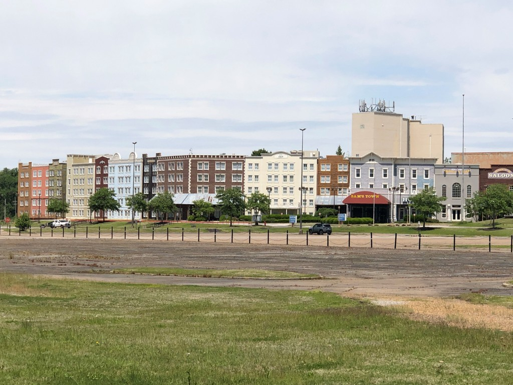 In this Monday, May 11, 2020, photo, the parking lot of Sam's Town casino and hotel is mostly empty in Tunica, Miss. A county in the heart of the hist...