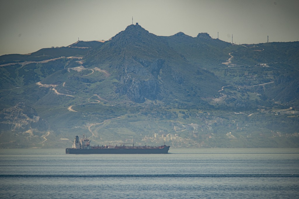 A view of the vessel the Clavel sailing on international waters crossing the Gibraltar stretch on Wednesday, May 20, 2020. Five Iranian tankers likely...