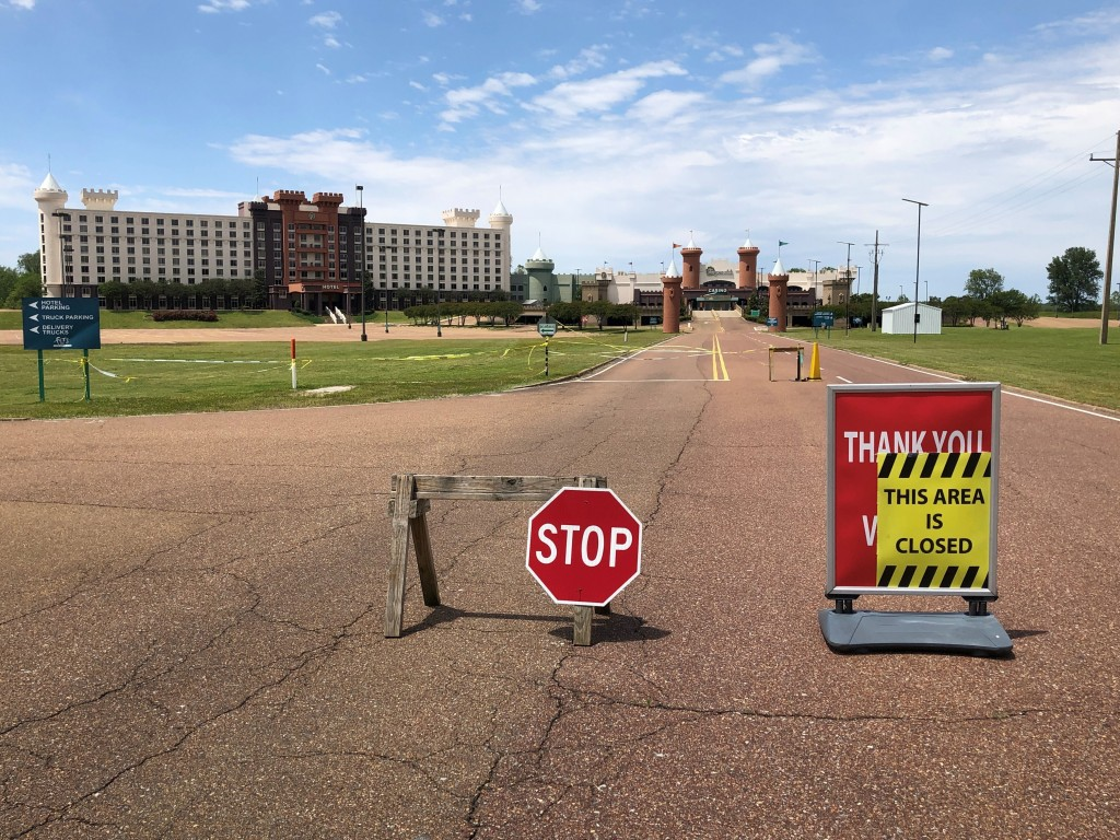 In this Monday, May 11, 2020, photo, the road leading to The Fitz Tunica Casino & Hotel is closed in Tunica, Miss. A county in the heart of the histor...