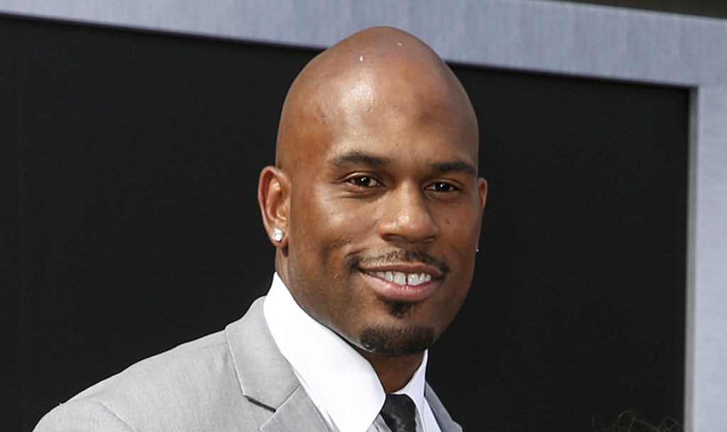 """FILE - In this June 28, 2015, file photo, WWE wrestler Shad Gaspard arriving at the Los Angeles premiere of """"Terminator Genisys"""" at the Dolby Theatre ..."""