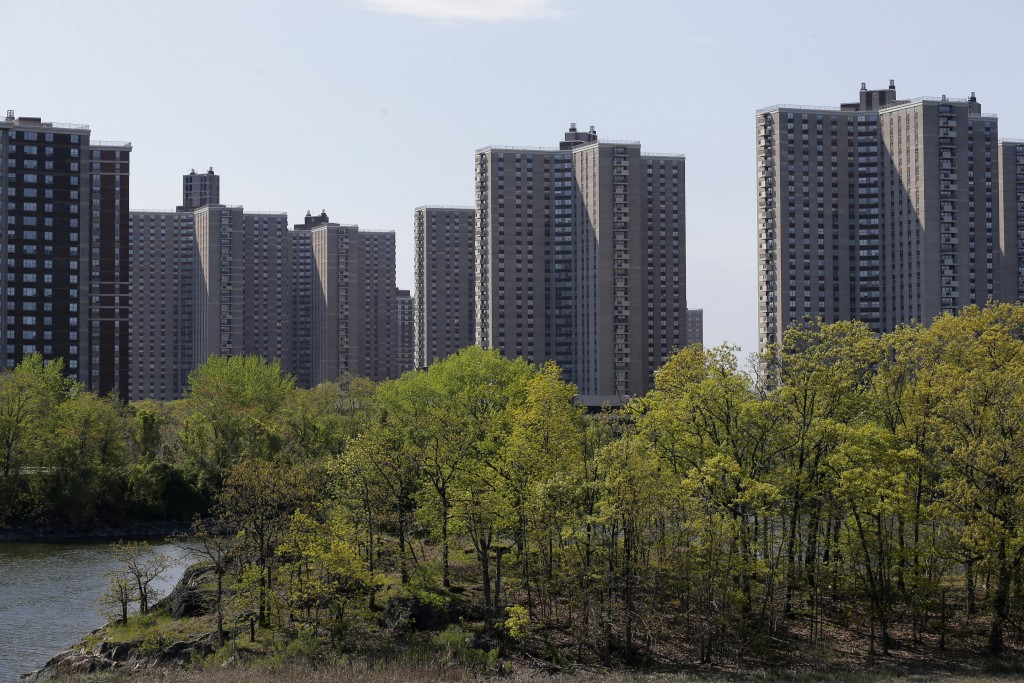 The Hutchinson River meanders by Co-op City in the Bronx borough of New York, Thursday, May 14, 2020. Within the Bronx, almost no place has been hit a...
