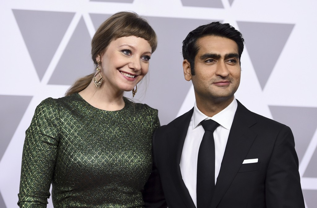 FILE - This Feb. 5, 2018 file photo shows Emily V. Gordon, left, and Kumail Nanjiani at the 90th Academy Awards Nominees Luncheon in Beverly Hills, Ca...