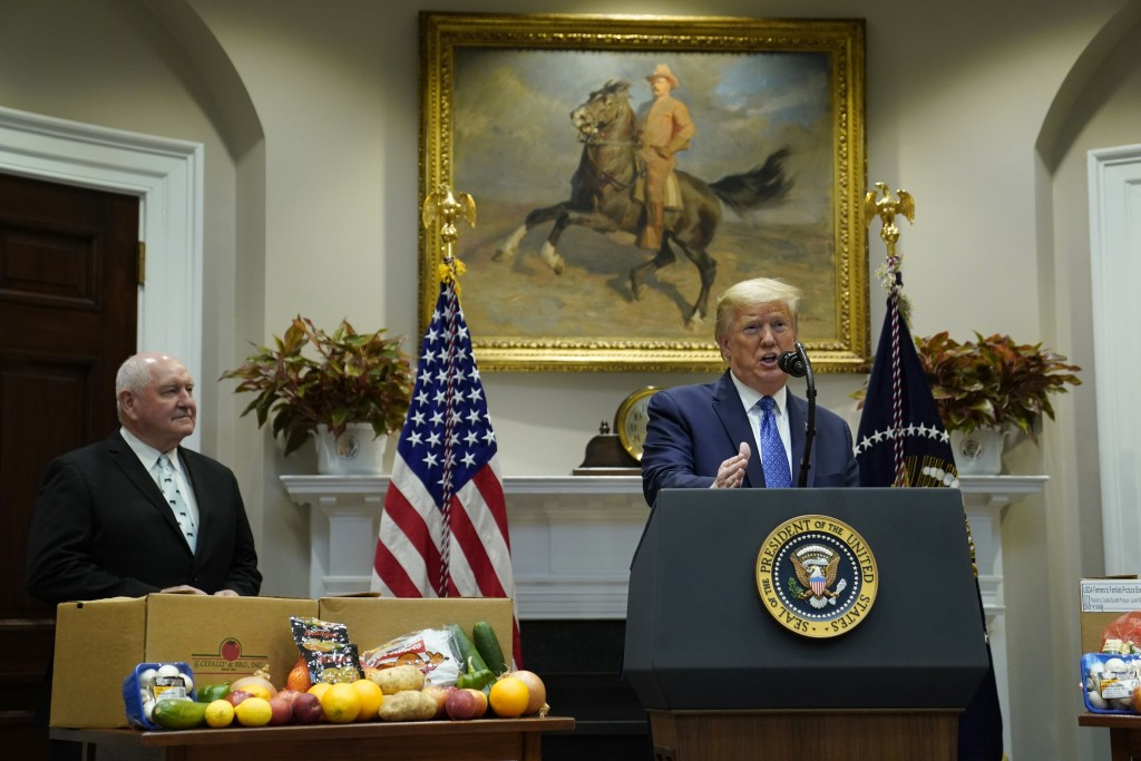 President Donald Trump speaks during an event on the food supply chain during the coronavirus pandemic, in the Roosevelt Room of the White House, Tues...