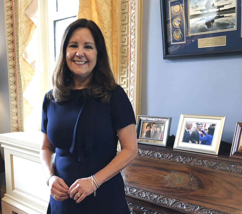 FILE- In this Jan. 31, 2020 file photo, Karen Pence, wife of Vice President Mike Pence, poses for a photograph in her office in the Eisenhower Executi...