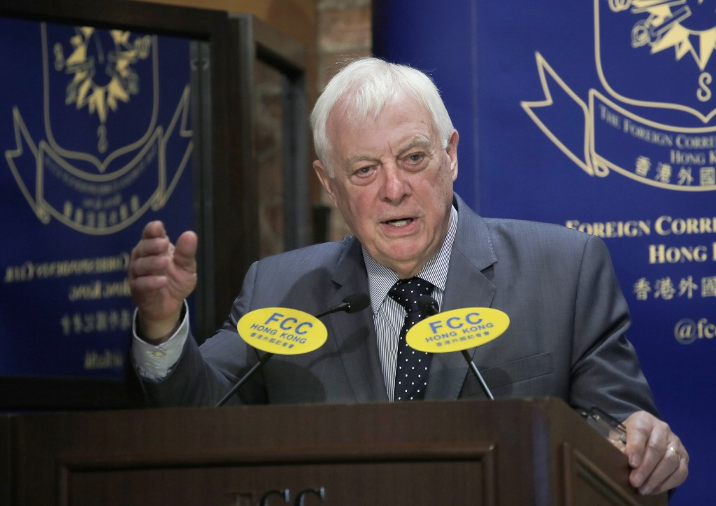 In this Sept. 19, 2017, photo, Chris Patten, Hong Kong's last British governor, listens to questions at The Foreign Correspondents' Club to pr...