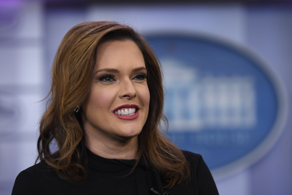 FILE - Inn this Jan. 29, 2019, file photo, Mercedes Schlapp speaks during a television interview in the press briefing room at the White House in Wash...