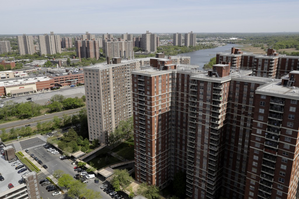 Apartment buildings within Co-op City sit along the banks of the Hutchinson River in the Bronx borough of New York, Tuesday, May 19, 2020. Within the ...