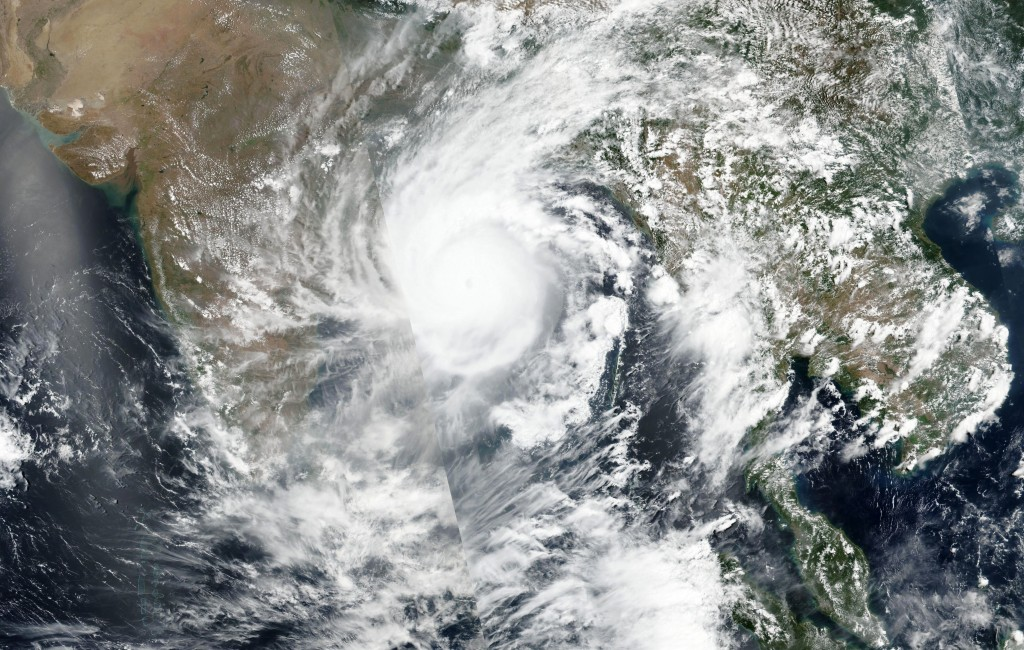 This Tuesday, May 19, 2020, satellite image released by NASA shows Cyclone Amphan over the Bay of Bengal in India. The powerful storm is expected to m...