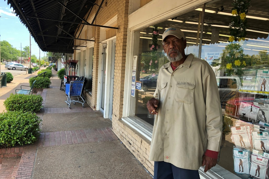 In this Monday, May 11, 2020, photo, Melvin Logan, 63, speaks with a reporter about the effects of casino closures in his hometown of Tunica, Miss. A ...