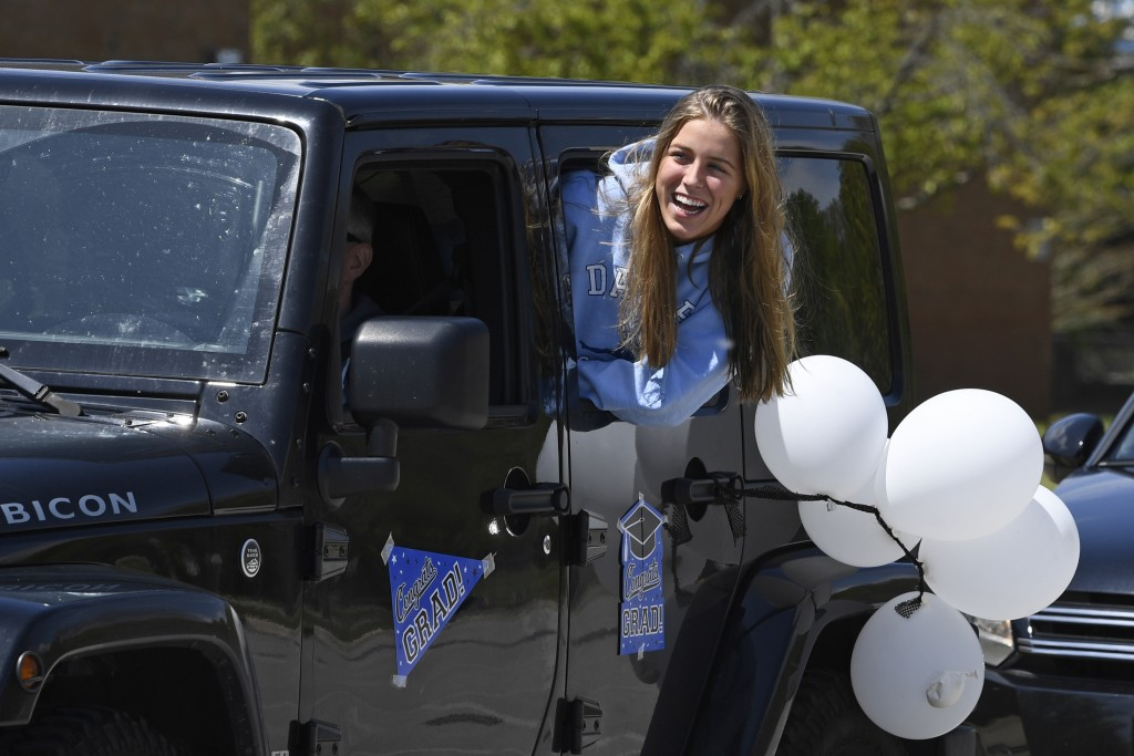 South River High School Class of 2020 senior Ashley Reed, 17, of Edgewater Md., waits for the start of a community-organized parade that began in the ...