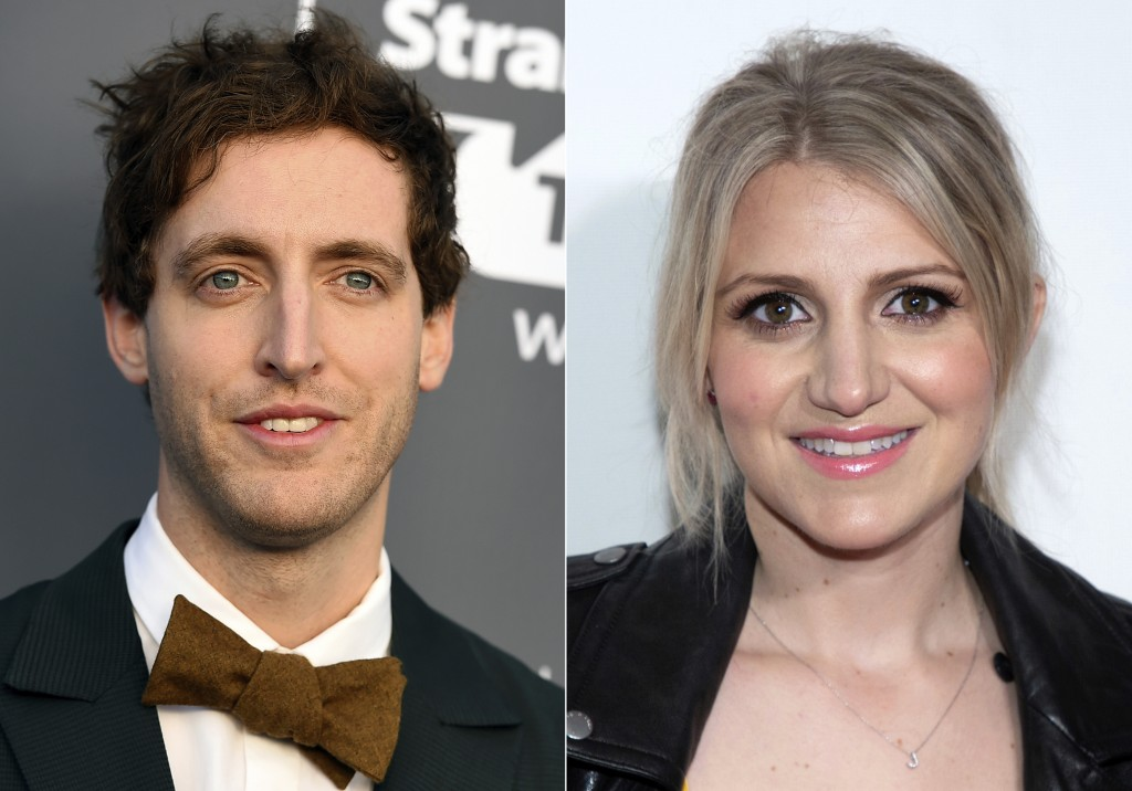 FILE - This image of file photos shows Thomas Middleditch at the 23rd annual Critics' Choice Awards in Santa Monica, Calif. on Jan. 11, 2018, left, an...