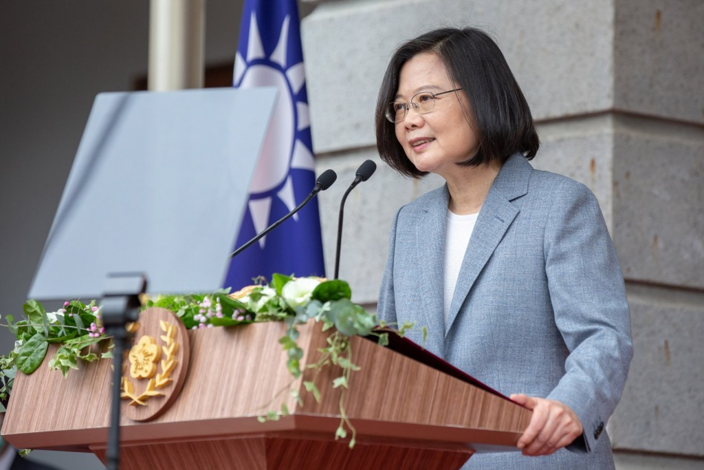 President Tsai delivers speech after inauguration ceremony in Taipei. (Taiwan Presidential Office photo)