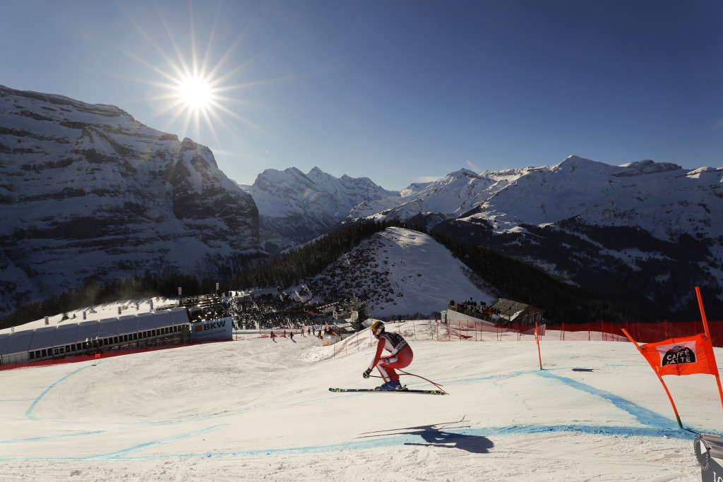 FILE - In this Saturday, Jan. 19, 2019 file photo, Monaco's Arnaud Alessandria speeds down the course during an alpine ski, men's World Cup downhill i...