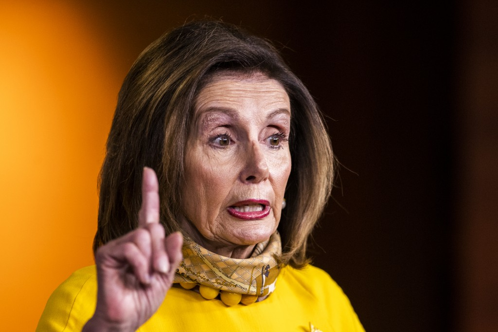 House Speaker Nancy Pelosi of Calif., speaks during a news conference on Capitol Hill, Wednesday, May 20, 2020, in Washington. (AP Photo/Manuel Balce ...