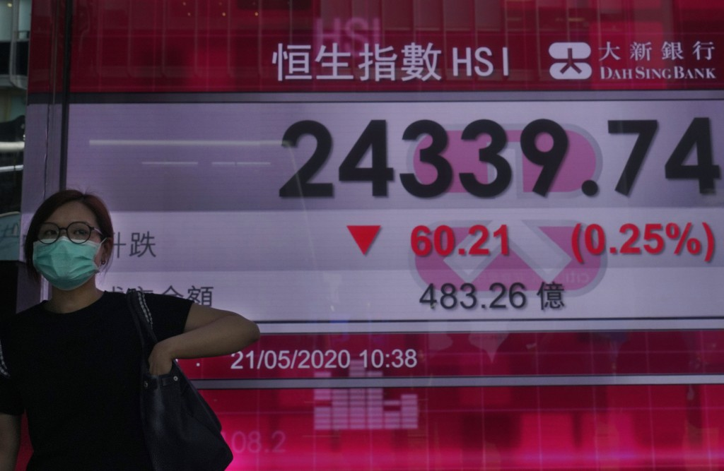 A woman wearing a face mask walks past a bank's electronic board showing the Hong Kong share index at Hong Kong Stock Exchange Thursday, May 21, 2020....