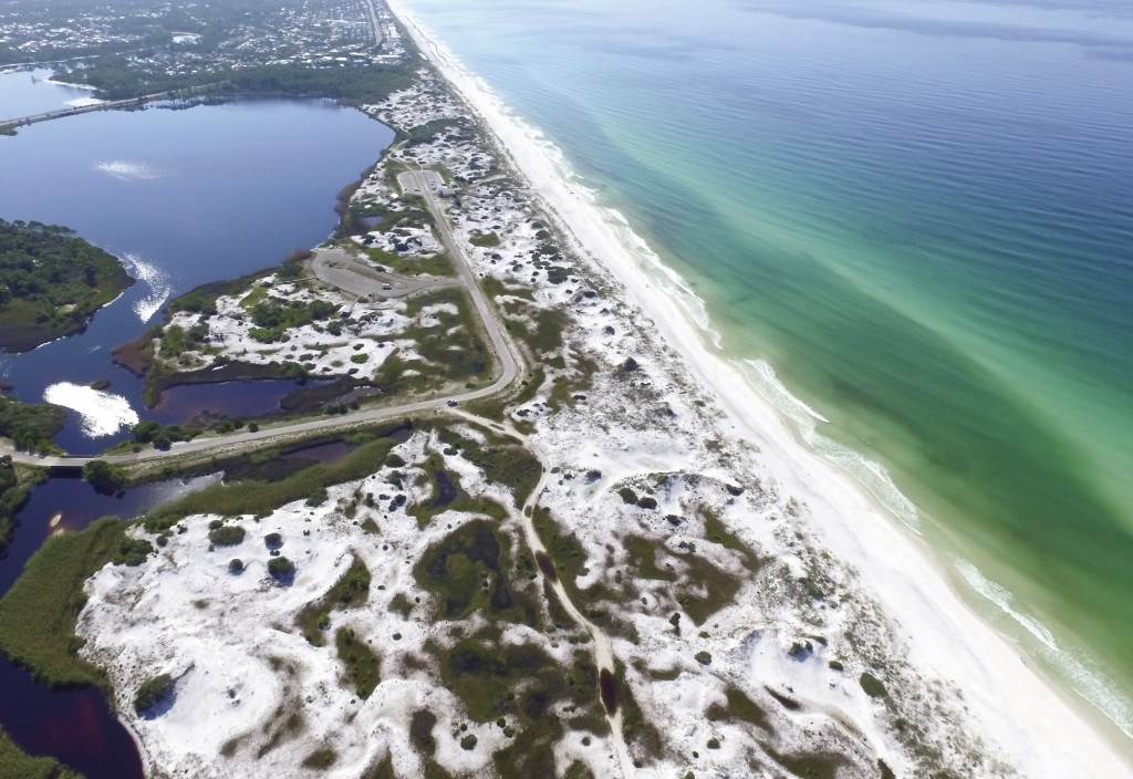 This Aug. 1, 2018, aerial photo made available by the Florida Department of Environmental Protection shows Grayton Beach State Park in Santa Rosa Beac...