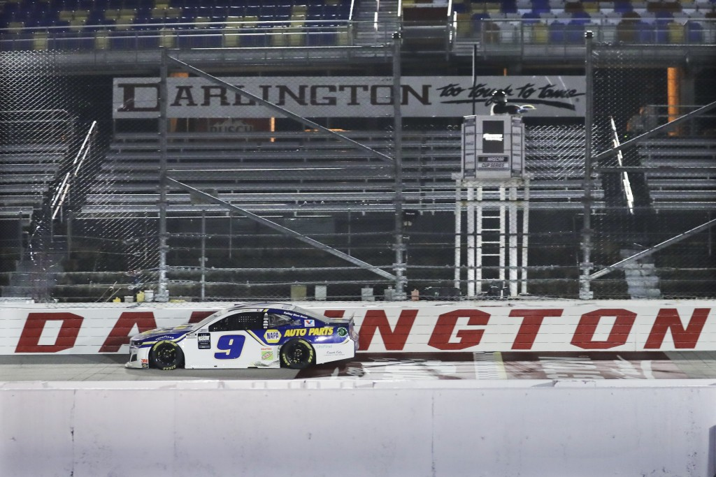Chase Elliott (9) drives during the NASCAR Cup Series auto race Wednesday, May 20, 2020, in Darlington, S.C. (AP Photo/Brynn Anderson)