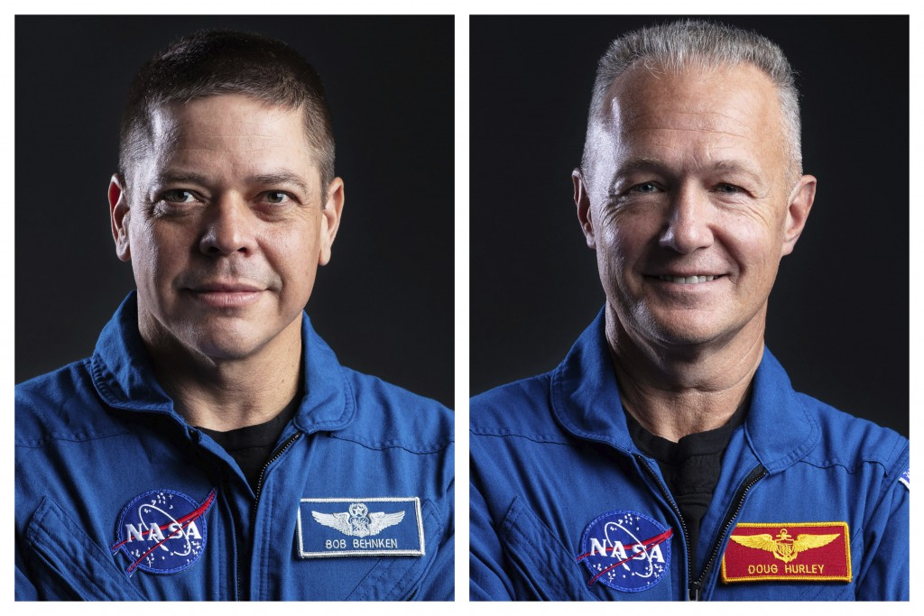 This combination of undated photos made available by SpaceX shows astronauts Bob Behnken, left, and Doug Hurley at SpaceX Headquarters in Hawthorne, C...