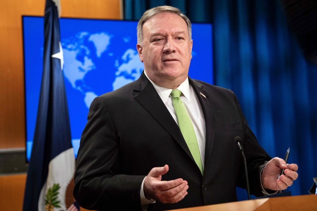 Secretary of State Mike Pompeo speaks during a press briefing at the State Department on Wednesday, May 20, 2020, in Washington. (Nicholas Kamm/Pool P...
