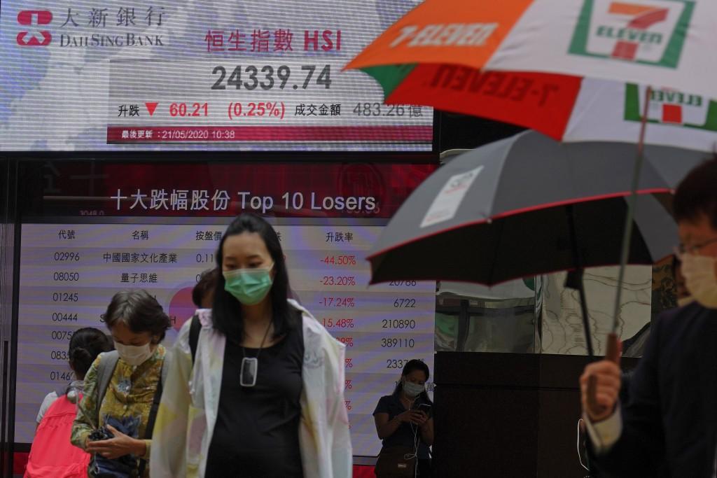 People wearing face masks walk past a bank's electronic board showing the Hong Kong share index at Hong Kong Stock Exchange Thursday, May 21, 2020. As...