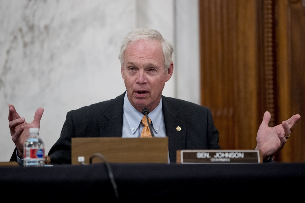 Chairman Sen. Ron Johnson, R-Wis., speaks as the Senate Homeland Security and Governmental Affairs committee meets on Capitol Hill in Washington, Wedn...