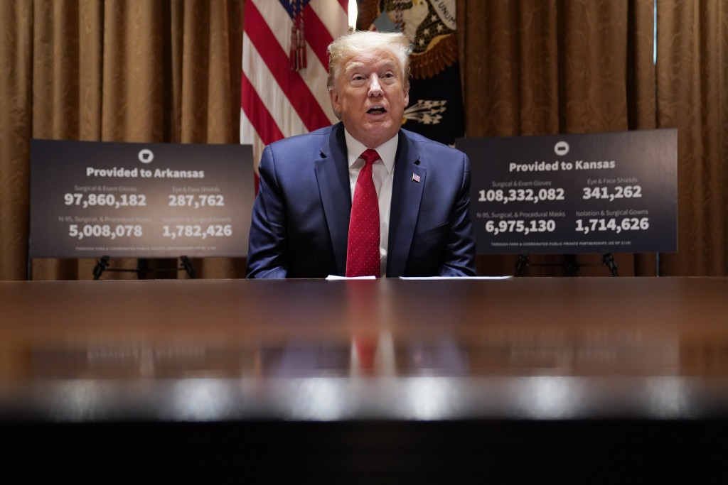 President Donald Trump speaks during a meeting with Arkansas Gov. Asa Hutchinson and Kansas Gov. Laura Kelly in the Cabinet Room of the White House, W...
