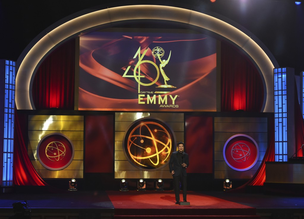 FILE - This May 5, 2019 file photo shows host Mario Lopez on stage at the 46th annual Daytime Emmy Awards in Pasadena, Calif. The Daytime Emmy Awards ...