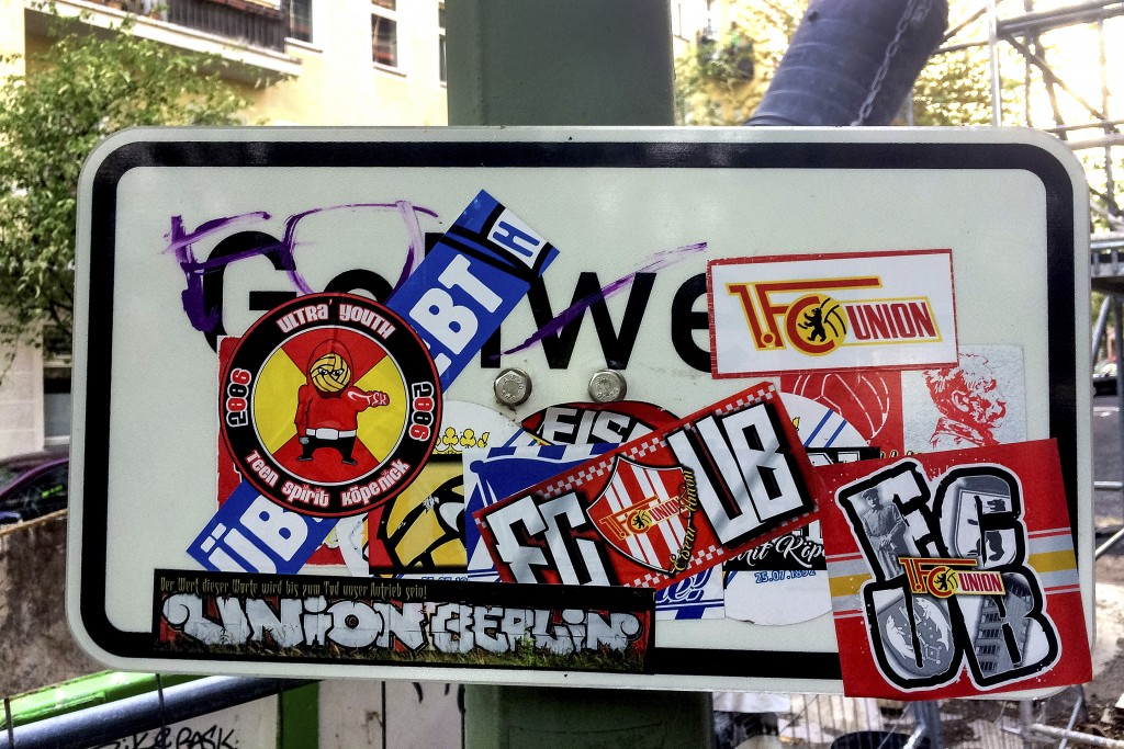 Stickers of the German first divsion, Bundesliga, soccer teams Hertha BSC Berlin and 1.FC Union Berlin are pictured in Berlin, Germany, Saturday, May ...