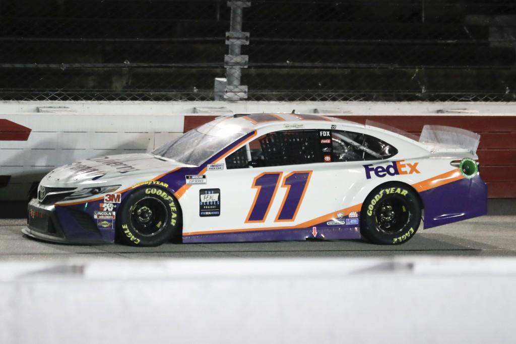 Denny Hamlin (11) drives during the NASCAR Cup Series auto race Wednesday, May 20, 2020, in Darlington, S.C. Hamlin won the race shortened by rain. (A...