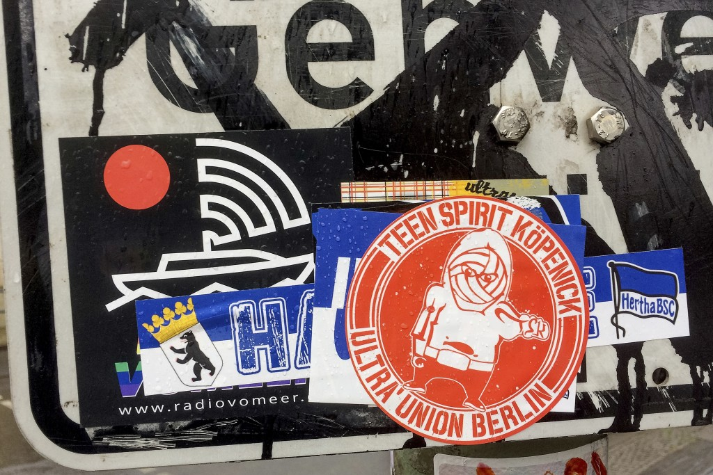 Stickers of the German first divsion, Bundesliga, soccer teams Hertha BSC Berlin and 1.FC Union Berlin are pictured in Berlin, Germany, Monday, May 4,...