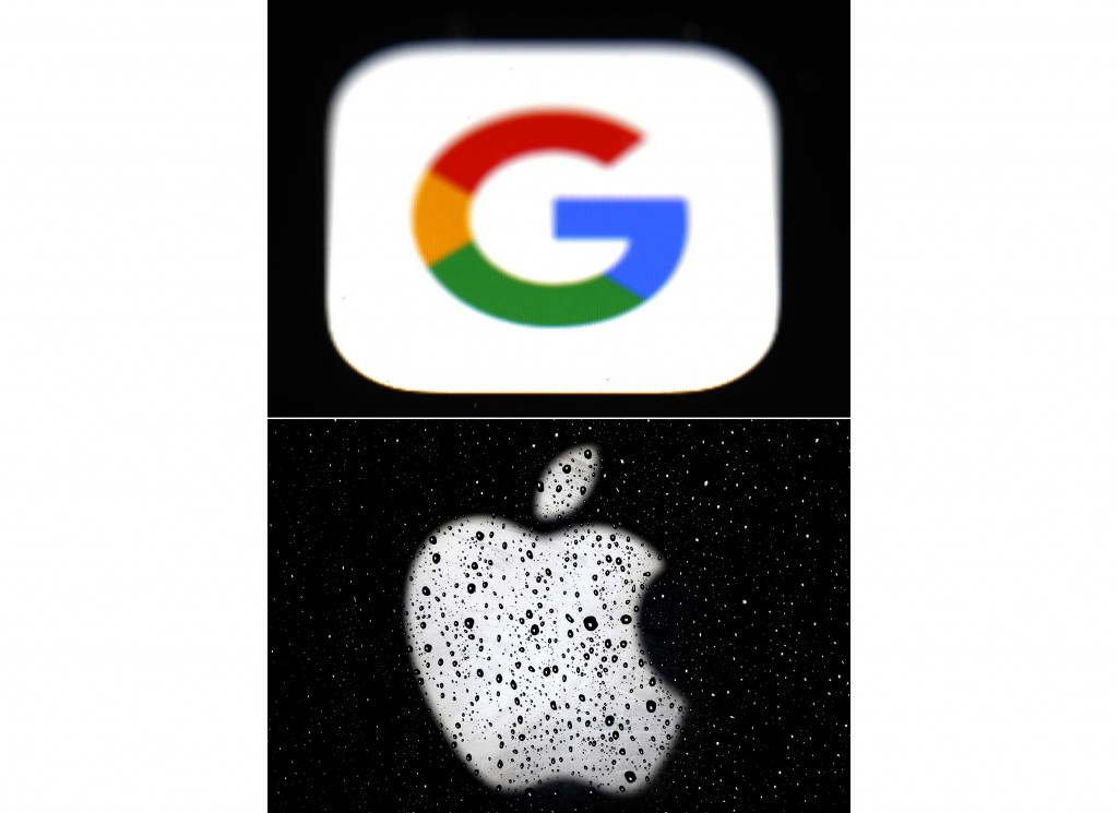 This combo of photos shows the logo for Google, top and Apple, bottom.  Apple and Google on Wednesday, May 20, 2020,  released long-awaited smartphone...