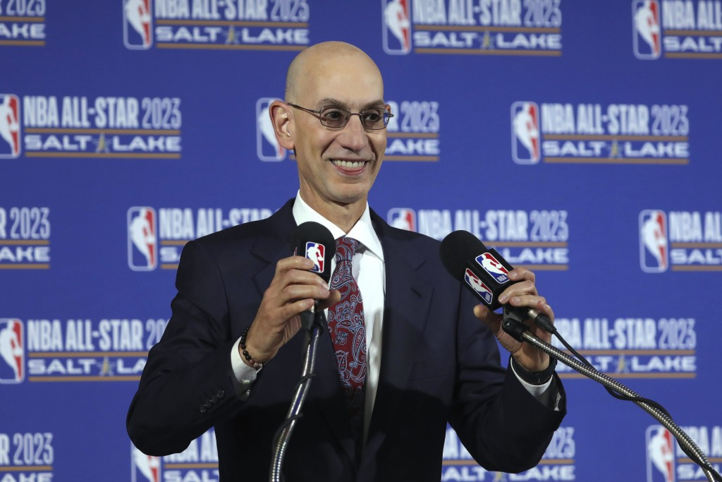FILE - In this Oct. 23, 2019, file photo, NBA Commissioner Adam Silver speaks during a news conference at Vivint Smart Home Arena in Salt Lake City. S...