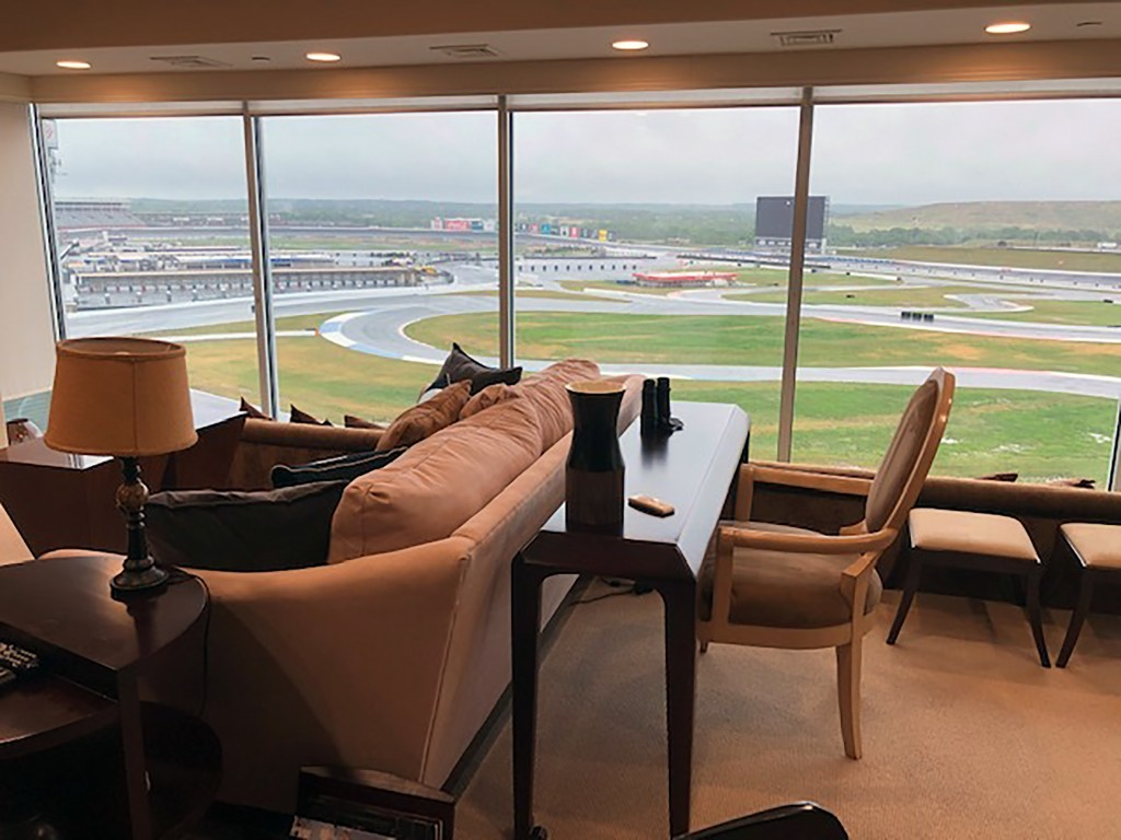 View from a condominium at Charlotte Motor Speedway in Concord, N.C. Wednesday, May 20, 2020. Fans aren't allowed to watch NASCAR races live yet due t...