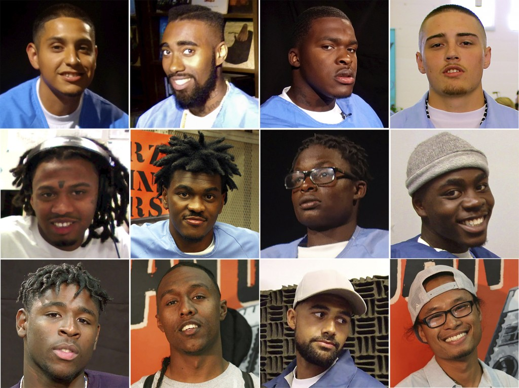 "This combination of photos released by David Jassy shows San Quentin State Prison inmates, top row from left, Daniel ""Dinero"" Gutierrez, Deonte ""Dope""..."