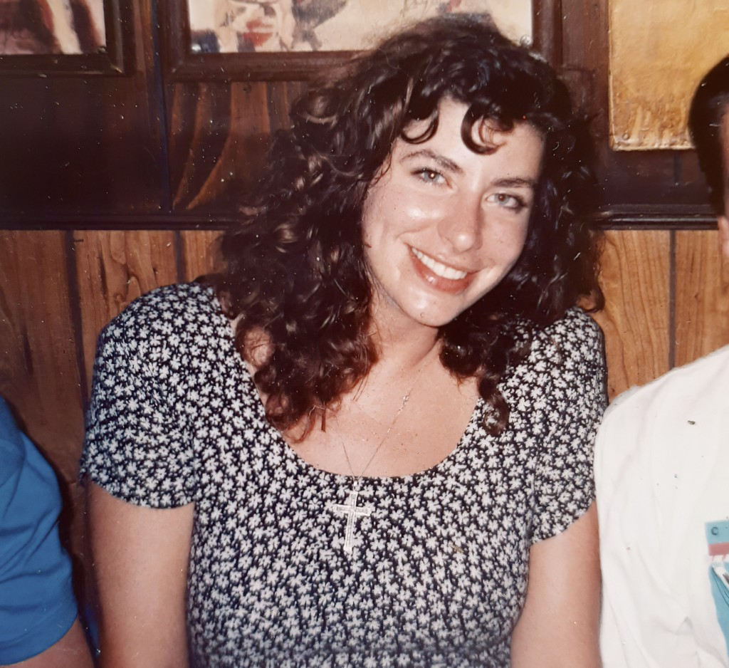 This photo provided by Tara Reade, shows Tara Reade out with friends in Washington, in 1992 or 1993, during the time she worked for then- Sen. Joe Bid...